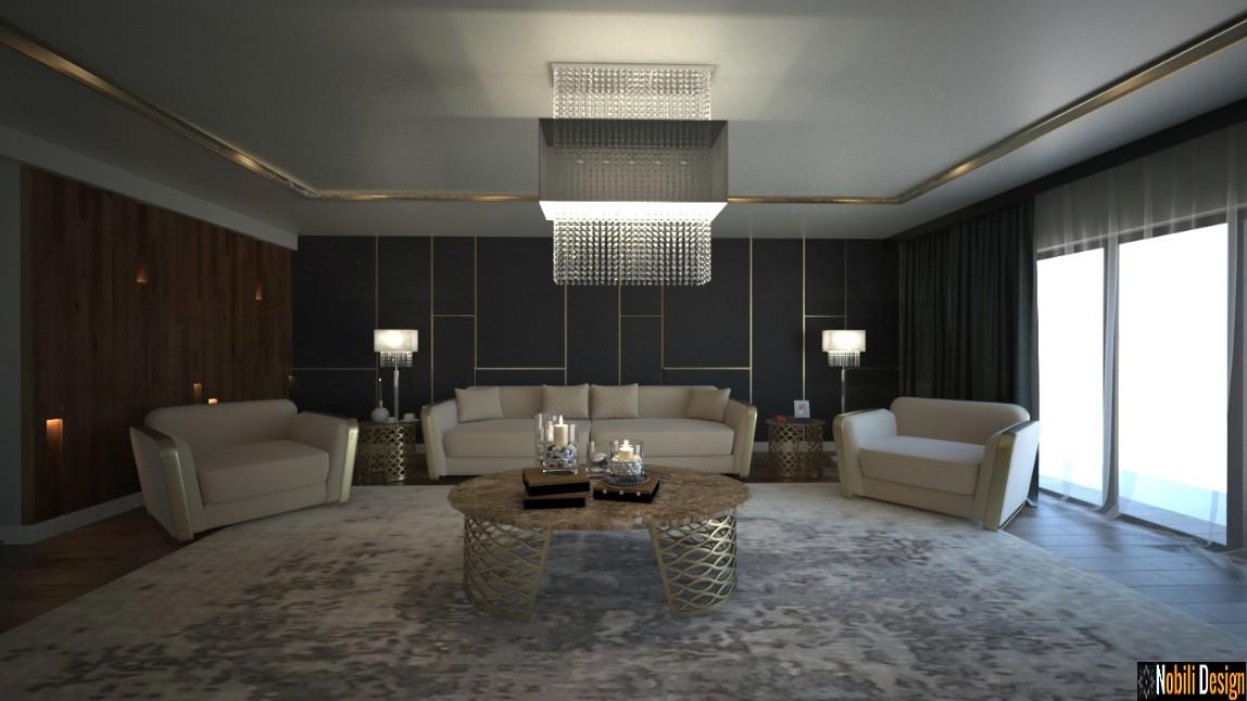 Casas modernas luxuosas do design de interiores em Bucareste.