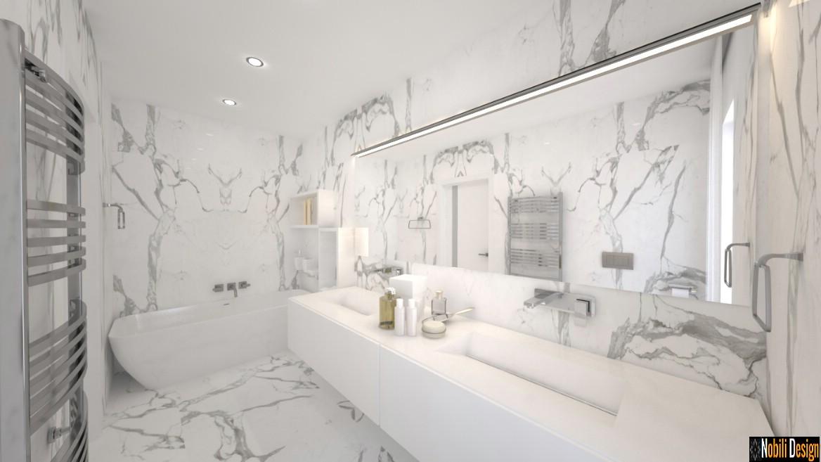 design interior baie modern de lux | amenajare baie cu gresie tip marmura.