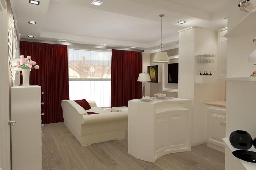 Amenajari interioare apartamente mici for Proiect casa 2 camere living baie si bucatarie