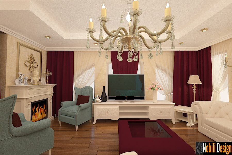 Amenajari interioare living cu bucatarie stil clasic.