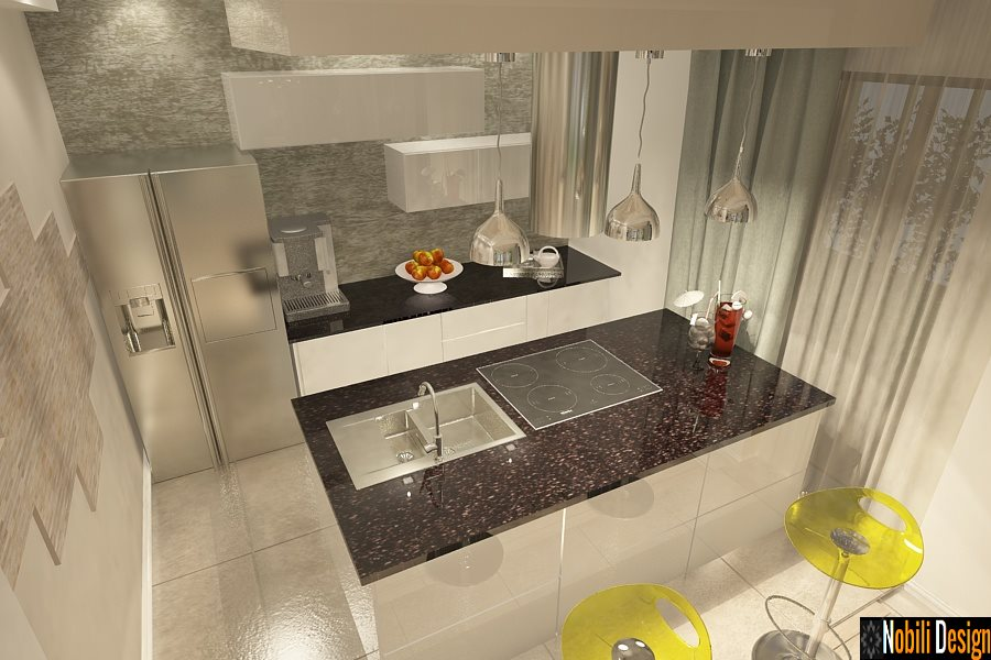Interior Modern Kitchen Design - 3d Interior Design Concept.