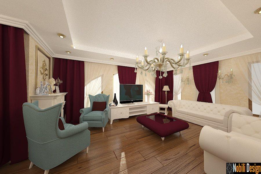 Interior design Soggiorno con cucina in stile classico.