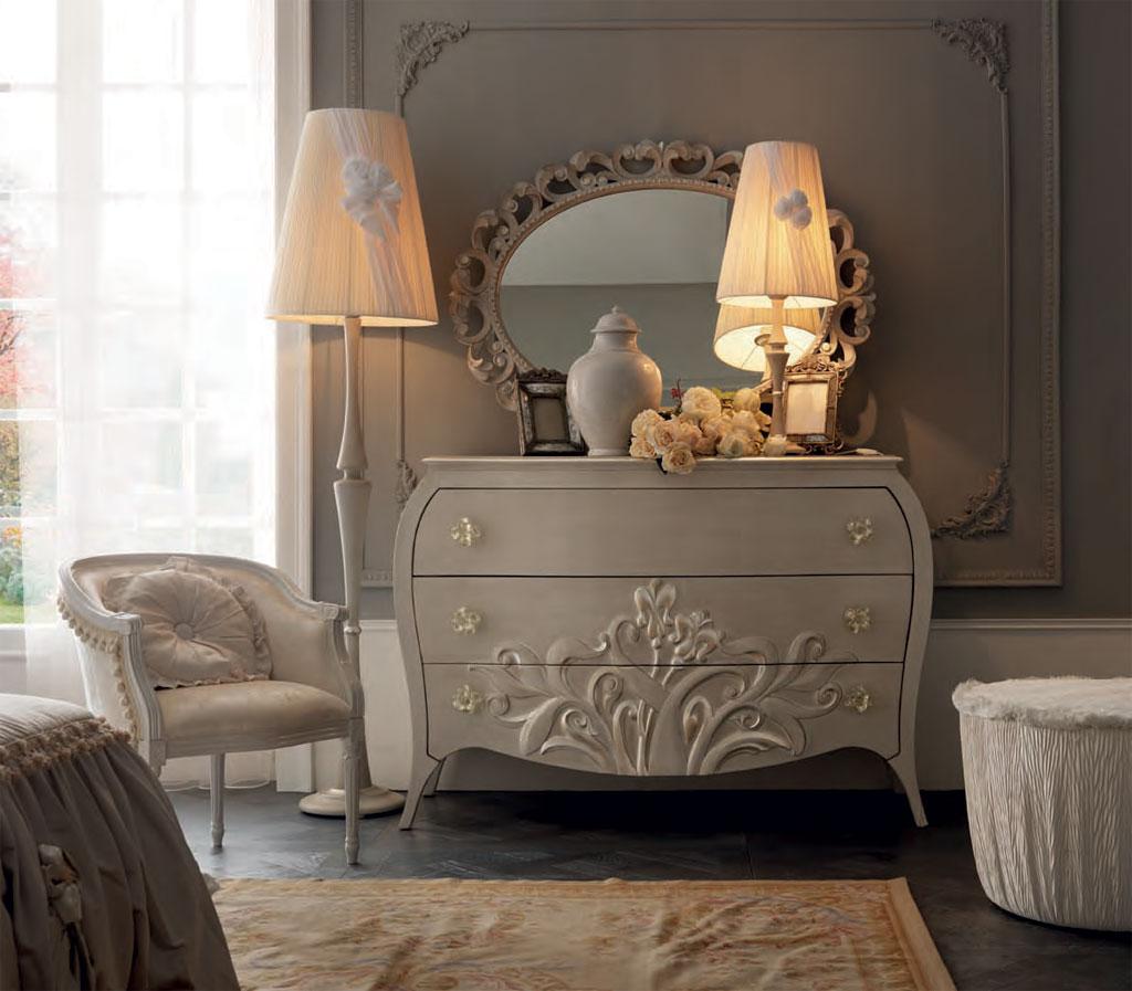 comoda dormitor clasic alb mobilier lemn italia