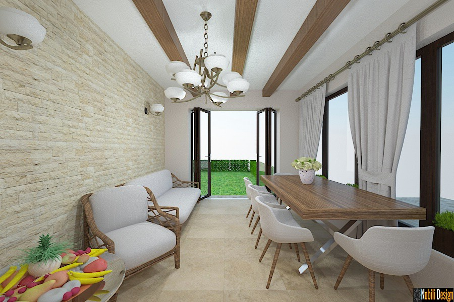 Design interior casa de vacanta rustica.
