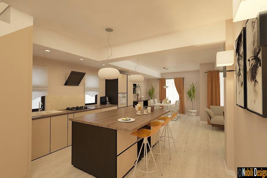 Design - interior - living - bucatarie - open - space - Sinaia.