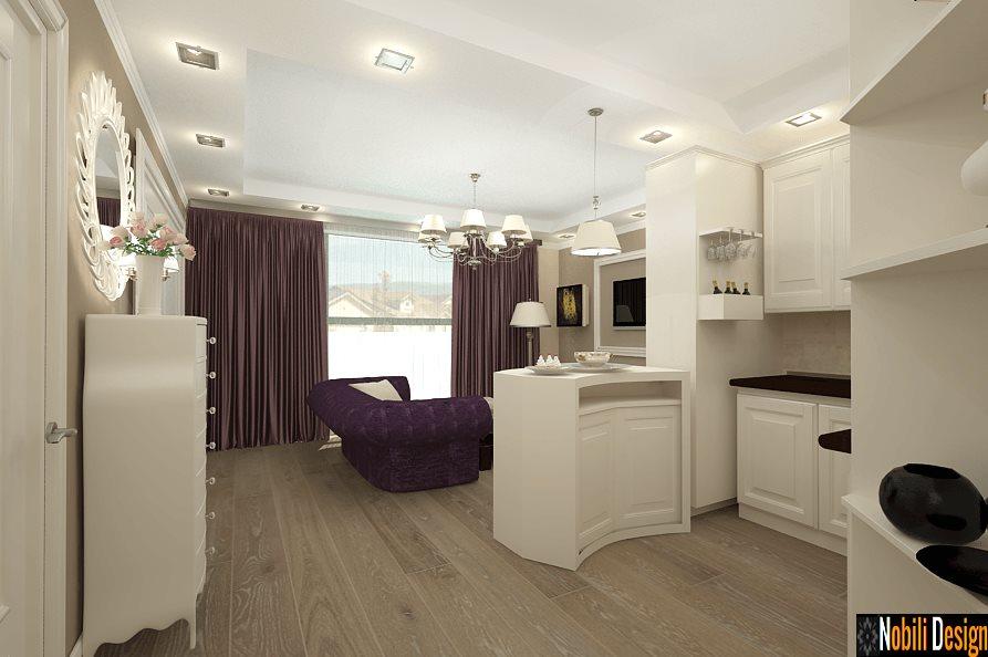 design interior living cu bucatarie apartament