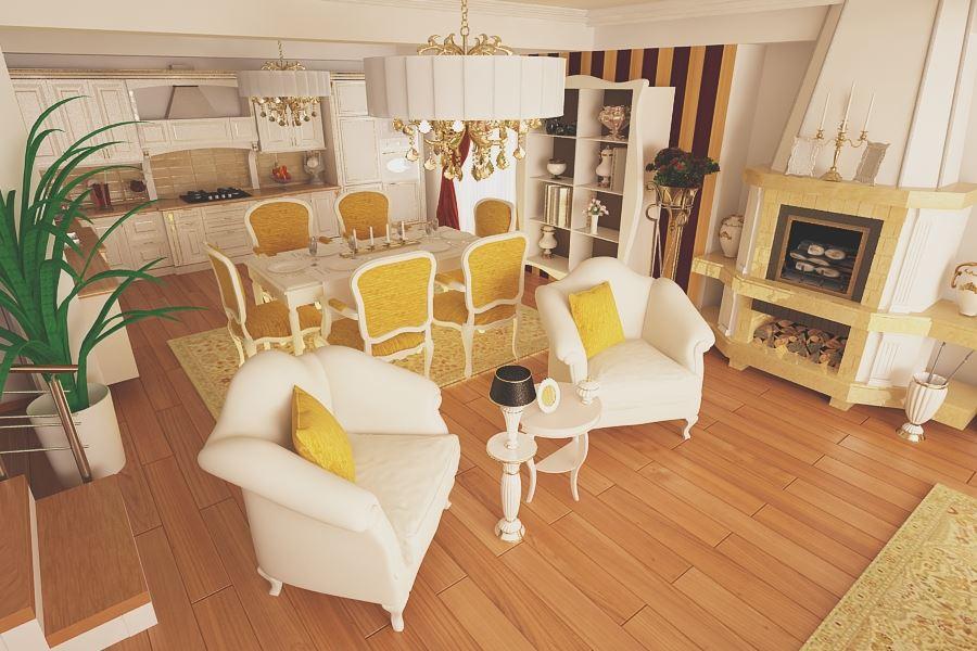 Design interior living vila clasic modern for Design interior case