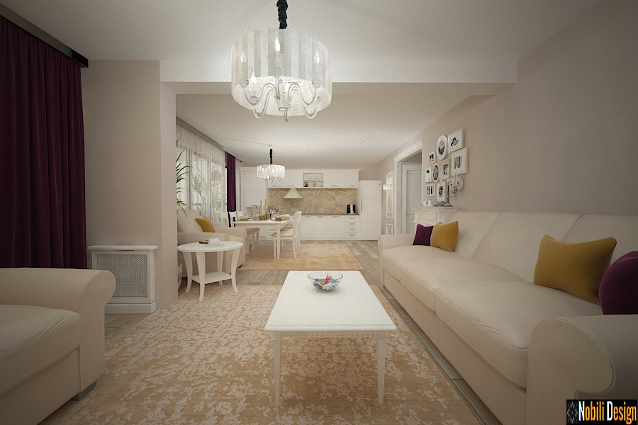 design interior living cu bucatarie casa pitesti arges | Amenajare interioara casa clasica Pitesti Arges pret.
