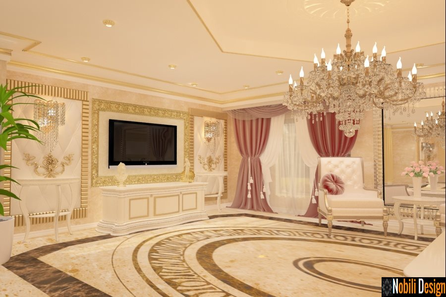 Sala de estar clássica de design de interiores