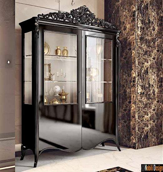 mobila living dormitor vitrina clasica italia opera fp 3007 negru | Mobilier - living - vitrina - lemn - Pitesti.