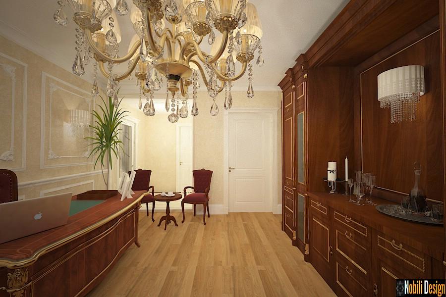 amenajari interioare birouri stil clasic baroc mobila lemn de lux | Design interior birou directorial.