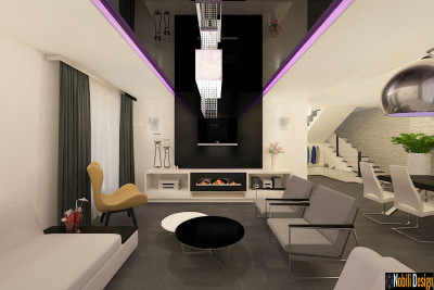 Proiect design interior living casa moderna Sector 5